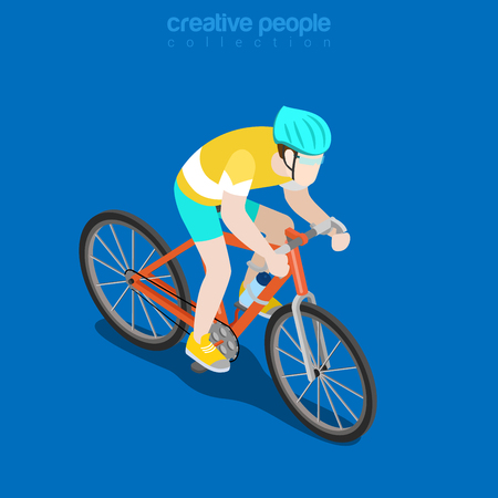 sportsman: Flat isometric Racing Cyclist vector illustration. Sportsman 3d isometry image. Summer international competition concept.