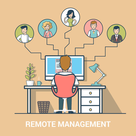 Linear Flat business people distant teamwork on project vector illustration. Remote management of business team concept. Vector Illustration