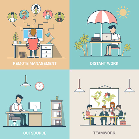 outsourcing: Linear Flat Business people at work vector illustration set. Outsourcing, Teamwork, Distant work, Remote management business concepts.