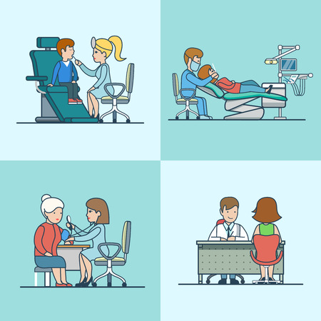 professional equipment: Linear Flat therapist, ENT, neurology, dentist offices with medical equipment, doctor and patient characters vector illustration set. Health care, professional help concept.