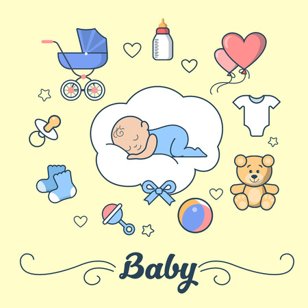 parenting: Linear Flat little Boy sleeping on cloud, First Year of Baby vector illustration. Template for Scrap booking hand made album or greeting card. Parenting and Newborn concept.