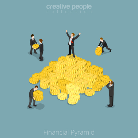 snatch: Flat isometric businessman on top of coin pyramid. People bring and give coins to the  business vector illustration. Financial Pyramid 3d isometry concept.