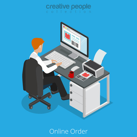 ordering: Flat isometric man ordering clothes on website vector illustration. 3d isometry online order draw up e-commerce business concept. Illustration