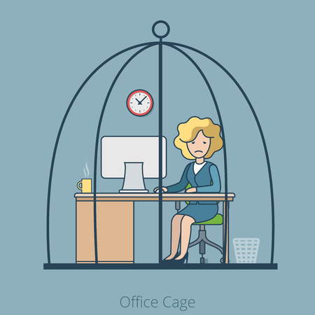 dreary: Linear Flat Sad Businesswoman sitting in Cage, Office room interior vector illustration. Hard working business concept. Illustration