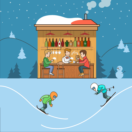 ski resort: Linear Flat Ski resort with snowy background vector illustration. Skiers have fun, hut with hot drinks and clients. Winter mountain family sports concept.