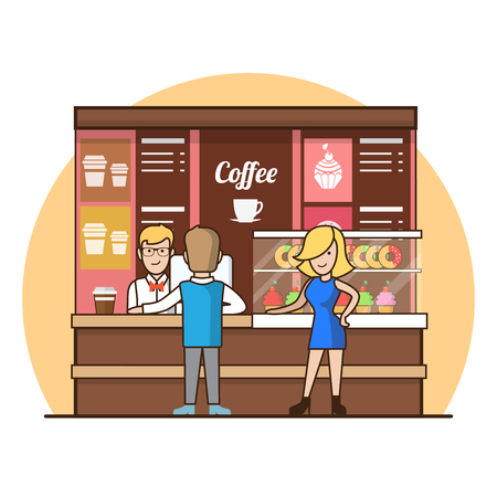 donates: Linear Flat Customers in coffee shop line choosing drinks, vector illustration. Showcase with cakes and donates, waiter, cashier, man, woman, client characters. Coffee break concept.