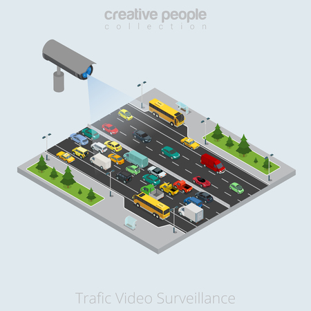 highway patrol: Flat isometric Video Surveillance Security Camera watching city transport vector illustration. Traffic jam 3d isometry concept. Bus, pickup, van and taxi.
