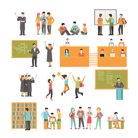 Linear Flat University subject selection, elective course, study and graduation vector illustration set. Library and classroom interior isolated icons. Modern Education and Knowledge concept.