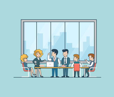 Linear Flat Business people brainstorming in meeting room vector illustration. Businessman, secretary, manager, client characters. Team work concept.