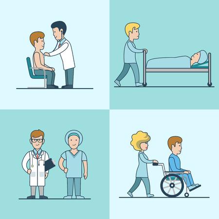 直線フラットの医療検査、治療、蘇生、病院放電ベクトル図を設定します。医師と患者の文字。健康管理、専門家の助けの概念。  イラスト・ベクター素材
