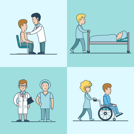 Linear Flat medical Examination, treatment, reanimation and hospital discharge vector illustration set. Doctor and patient characters. Health care, professional help concept.