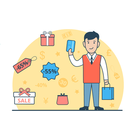 sopping: Linear Flat Happy man with purchase bags and credit card, present boxes and discount labels around vector illustration. Sopping concept.