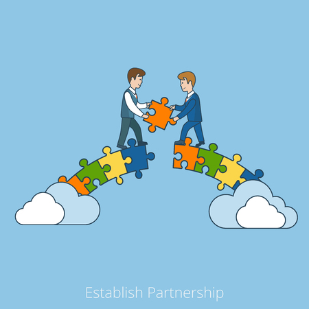Linear Flat Two businessmen building bridge with puzzle pieces vector illustration. Establish Partnership business concept. Çizim