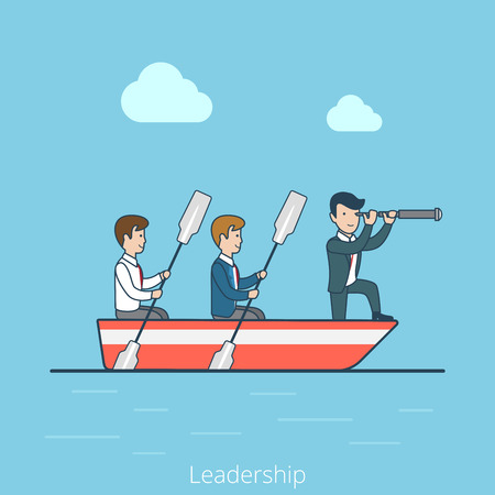 Linear Flat Businessmen in rowing boat, two rowers and one captain vector illustration. Leadership in business concept. Vector Illustration