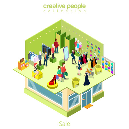 without clothes: Isometric flat Shopping boutique interior on second floor of building, without roof vector illustration. 3d clothes, accessory, customers characters Sale isometry concept.