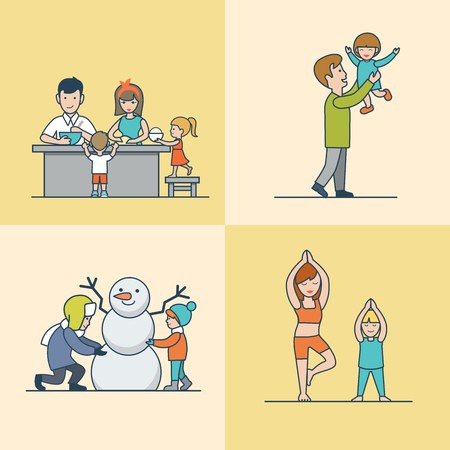 parenting: Linear Flat Family cooking, having fun, making snowman and gymnastic exercises vector illustration set. Casual life parenting concept.