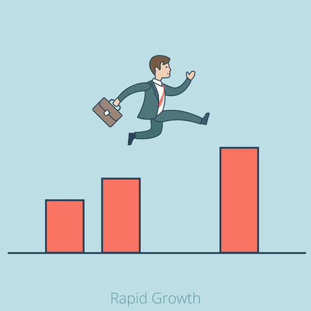 business jump: Linear Flat Businessman jump on higher level over gap on diagram vector illustration. Rapid growth in Business concept. Illustration