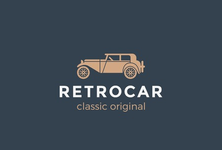 old vintage: Retro Car Logo design vector template.  Vintage Classic Vehicle Logotype concept icon