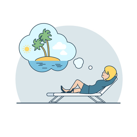 overwork: Linear Flat Businesswoman dreaming Vacation on an uninhabited island vector illustration. Business overwork concept. Illustration