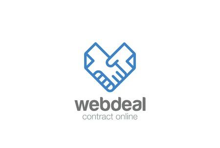 契約契約ドキュメント ハンドシェイク ロゴ抽象的なベクトル テンプレート。  ドキュメント手揺れハート型ロゴ アイコンの線形スタイルのコンセ