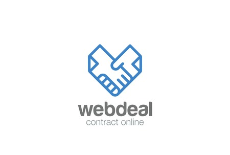 Deal Contract Documents Handshake Logo abstract vector template.  Docs Hands Shaking Heart shape Logotype concept icon linear style Illustration