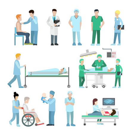 Linear Flat diversity of medical stuff and equipment vector illustration set. Health care, professional help concept. Ultrasonography, surgeon, therapist, nurse and baby characters.