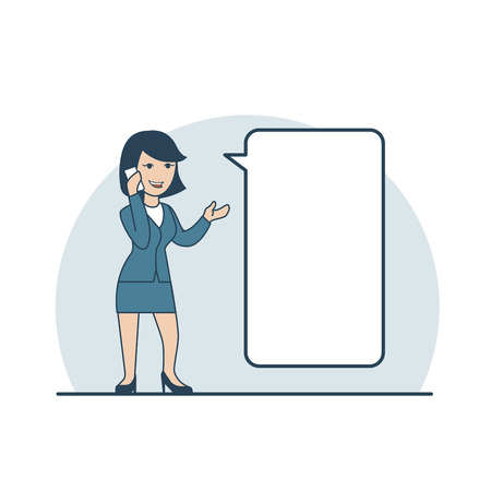 share information: Linear Flat Happy Businesswoman making phone call, share information vector illustration. Empty talk bubble to place your text. Business promotion concept. Illustration