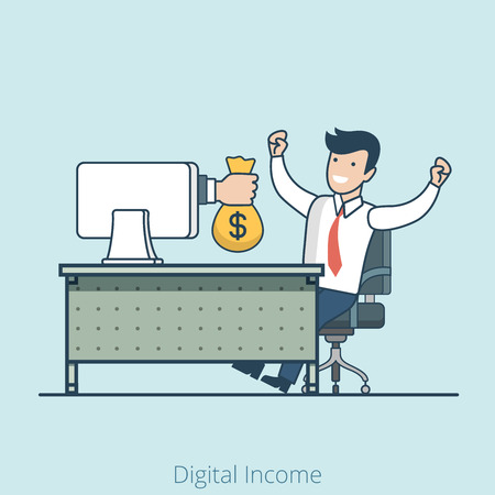 ebusiness: Linear Flat Hand from monitor gives money bag to happy manager vector illustration. E-business and e-commerce, online profit and passive income, royalty, gambler winner concept.
