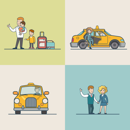 passenger transportation: Flat Modern family and businesspeople catching Taxi, woman went out from cab vector illustration set. City Passenger Transportation concept.