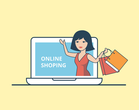 online purchase: Linear Flat Happy woman with purchase bags in huge laptop vector illustration. Online Shopping concept.