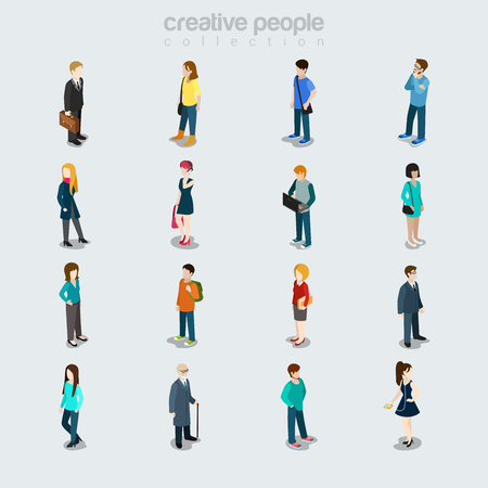 Flat People diverse by job, sex, age, and style vector illustration set. Isolated icons. Society members variety concept. Businessman, student, young beauties, oldie, casual clothing. Vettoriali