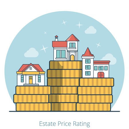 cheaper: Linear Flat Houses on top of huge coin stack pile vector illustration. Difference between expensive and cheaper, estate and realty price rating concept.