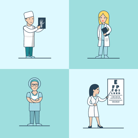 ophthalmologist: Linear Flat traumatologist, surgeon, therapist and ophthalmologist characters vector illustration set. Health care, professional help concept.