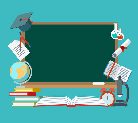 high school: Flat High school and college objects around blackboard with copyspace. Diploma, graduation cap, book, notebook, microscope, paint, palette, flask vector illustration. Education infographics concept. Illustration