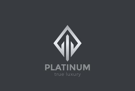 Real Estate Logo design vector template Rhombus shape. Luxury Fashion Jewelry Logotype concept icon