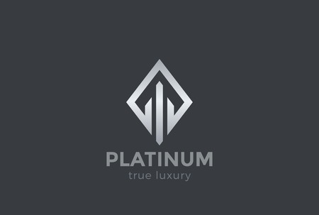 Real Estate Logo ontwerp vector sjabloon Rhombus vorm. Luxe modejuwelen Logotype concept icoon