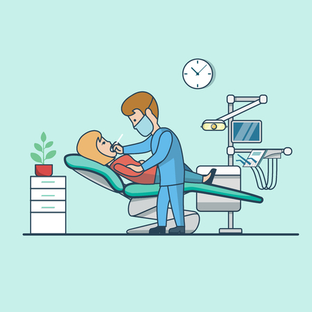 Linear Flat Businesswoman visiting doctor vector illustration. Dentist clinic interior image. Healthy team, compulsory medical examination concept.