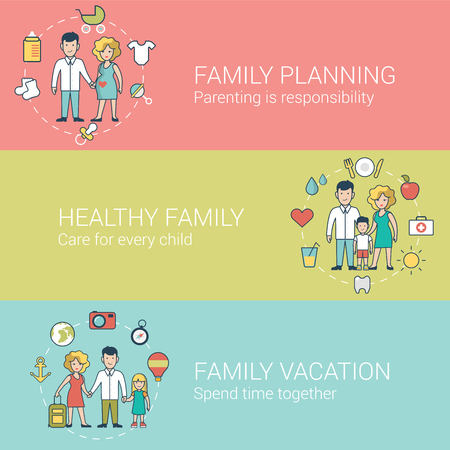 parenting: Linear Flat Family and Parenting set of website hero images vector illustration. Planning, parenting, Healthy lifestyle and Common joint vacation concept.