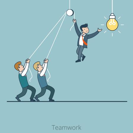 Lineal plana Dos hombres de negocios que sostienen que cambia la lámpara de ilustración vectorial bombilla. Negocios de la empresa corporativa concepto de trabajo en equipo.