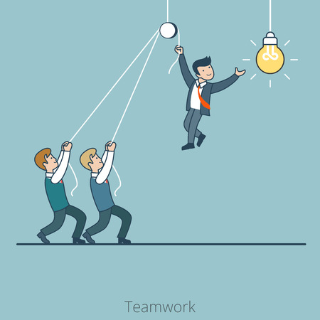 Linear Flat Two businessmen holding one who changes the light bulb lamp vector illustration. Business corporate company Teamwork concept. Vettoriali