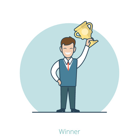 businessmen: Linear Flat Funny Businessman holding cup in his hand web infographics vector illustration. Winner, Successful Business concept.
