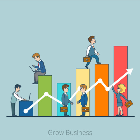 grow business: Linear Flat Businesspeople working to charts grow up vector illustration. Grow Business concept.