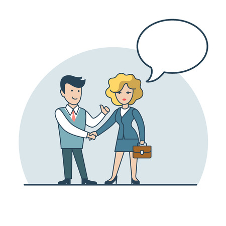 share information: Linear Flat Businesspeople shaking hands and chat, share information vector illustration. Empty talk bubble to place your text. Business agreement concept. Illustration