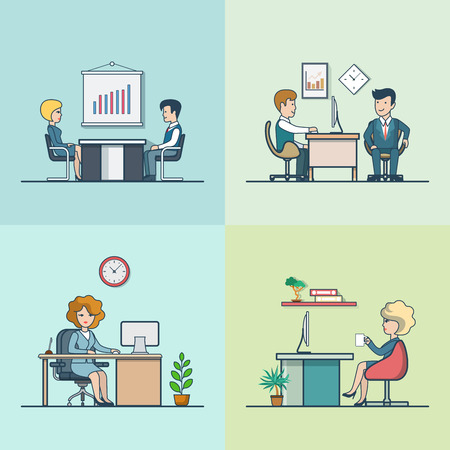 fellows: Linear Flat Businesspeople working at their workplaces, office rooms interior vector illustration set. Sitting man and woman, talking fellows, account and manager characters. Office life concept. Illustration