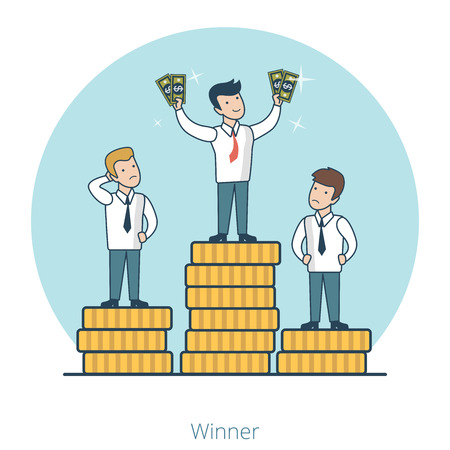 coin stack: Linear Flat businessmen on top of coin stack pile pedestal vector illustration. Market competition winner with money in hands. Success in business concept.