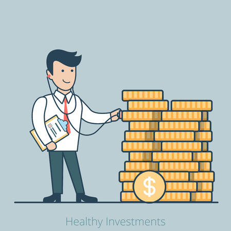 Linear Flat Businessman with stethoscope examining money health vector illustration. Healthy finance and investments business concept.