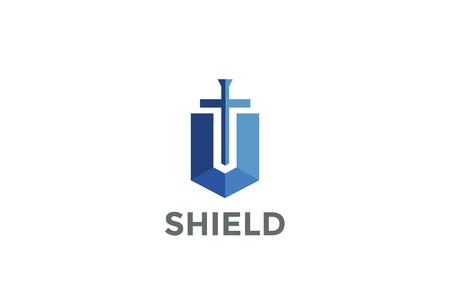 Adwokat adwokat adwokat projektowania logo szablonu. Tarcza Sword Law Kancelaria prawna Firma logowania logotypu ikona bezpieczeństwa