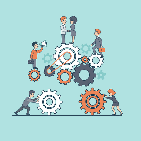 Linear Flat Businesspeople moving together gearwheels, walking up pyramid step by step vector illustration. Manager and stuff characters. Business corporate company professional Teamwork concept.
