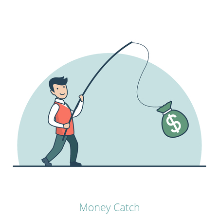 Linear Flat Businessman caught money bag on fishing rod vector illustration. Business profit concept. Illustration