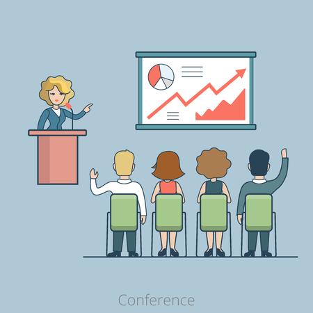 tribune: Linear Flat office Conference Speaker on tribune and people listening vector illustration. Business concept.